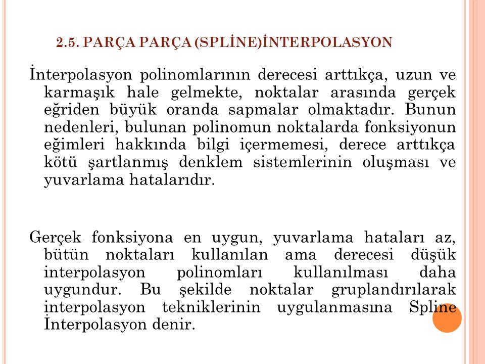 2.5. PARÇA PARÇA (SPLİNE)İNTERPOLASYON İnterpolasyon polinomlarının derecesi arttıkça, uzun ve karmaşık hale gelmekte, noktalar arasında gerçek eğride