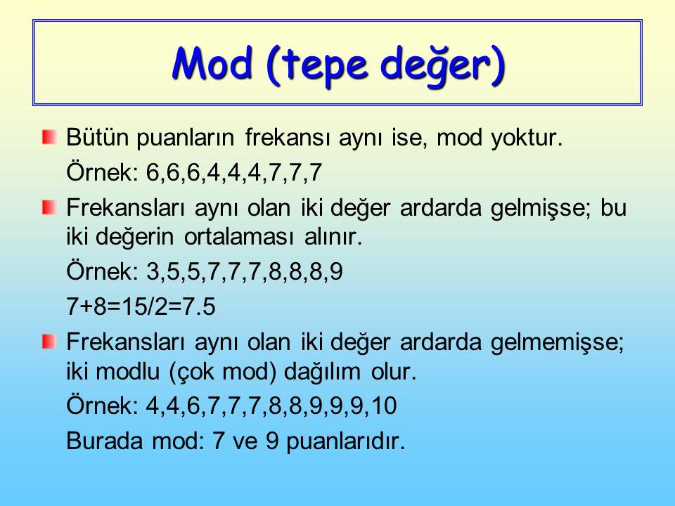 Mod (tepe değer) Bütün puanların frekansı aynı ise, mod yoktur. Örnek: 6,6,6,4,4,4,7,7,7 Frekansları aynı olan iki değer ardarda gelmişse; bu iki değe