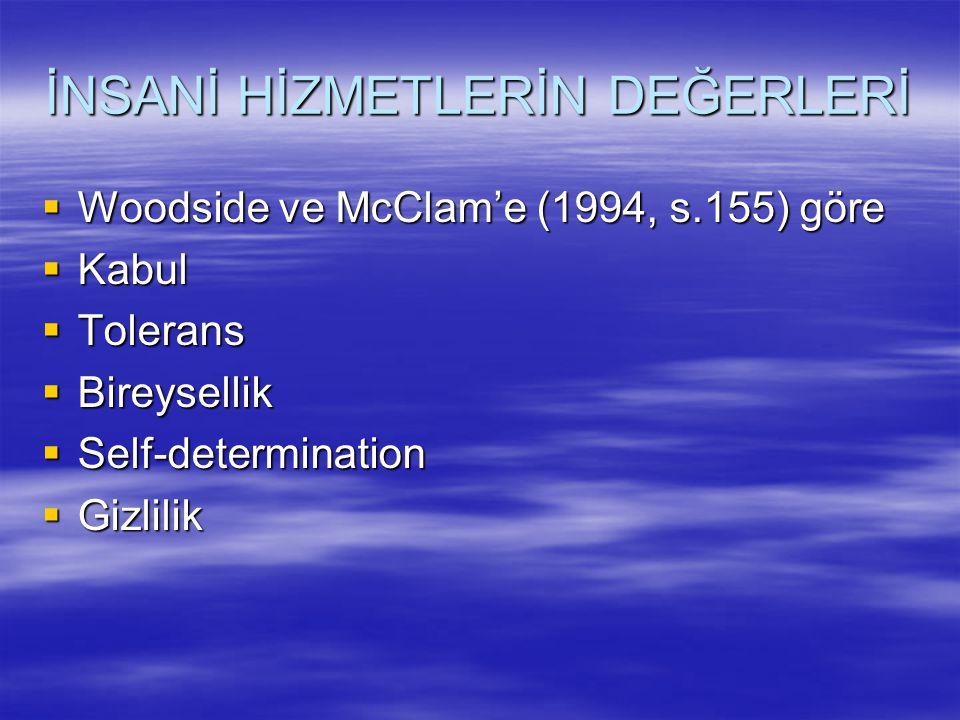 İNSANİ HİZMETLERİN DEĞERLERİ  Woodside ve McClam'e (1994, s.155) göre  Kabul  Tolerans  Bireysellik  Self-determination  Gizlilik