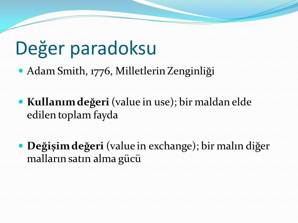 Değer paradoksu Adam Smith, 1776, Milletlerin Zenginliği Kullanım değeri (value in use); bir maldan elde edilen toplam fayda Değişim değeri (value in exchange); bir malın diğer malların satın alma gücü