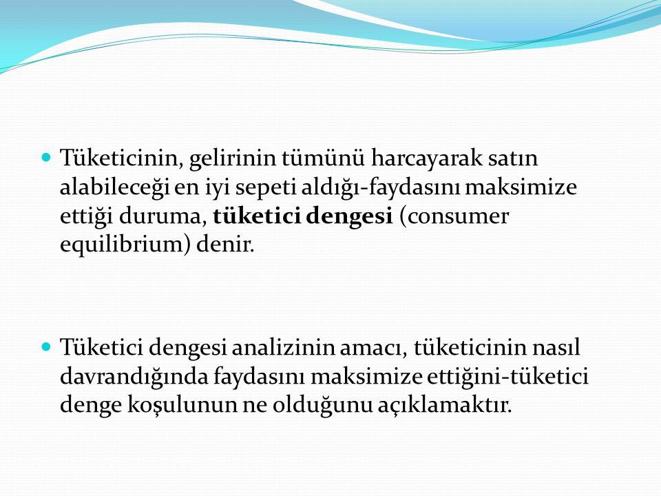 Tüketicinin, gelirinin tümünü harcayarak satın alabileceği en iyi sepeti aldığı-faydasını maksimize ettiği duruma, tüketici dengesi (consumer equilibrium) denir.
