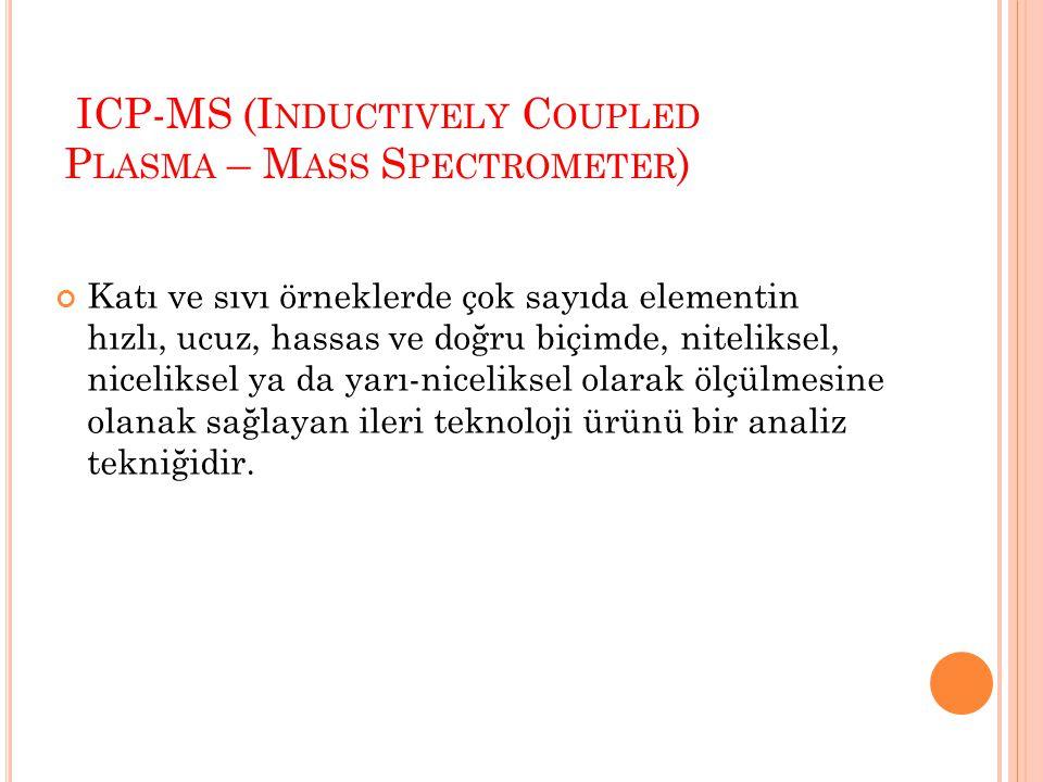 Örnek gönderici sistem, ICP, Aktarıcı koniler (interface cones), İyon lens sistemi, Kütle seçici (mass filter), Dedektör (electron multiplier tube) ve Vakum sistemi