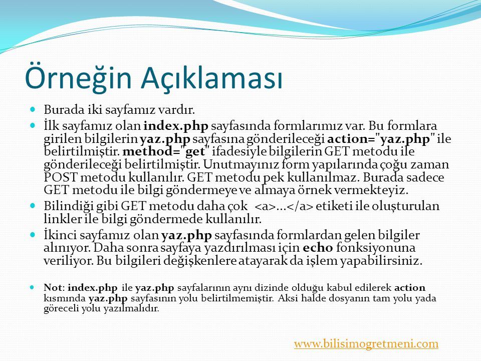 www.bilisimogretmeni.com Örneğin Açıklaması Burada iki sayfamız vardır.