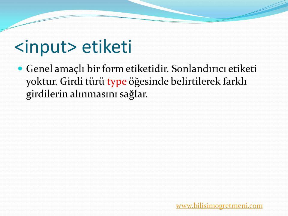www.bilisimogretmeni.com etiketi type = eleman türü Eleman türü belirtilir.