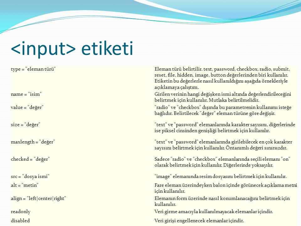 www.bilisimogretmeni.com etiketi type parametresi ile aşağıdaki elemanlar tanımlanabilir.
