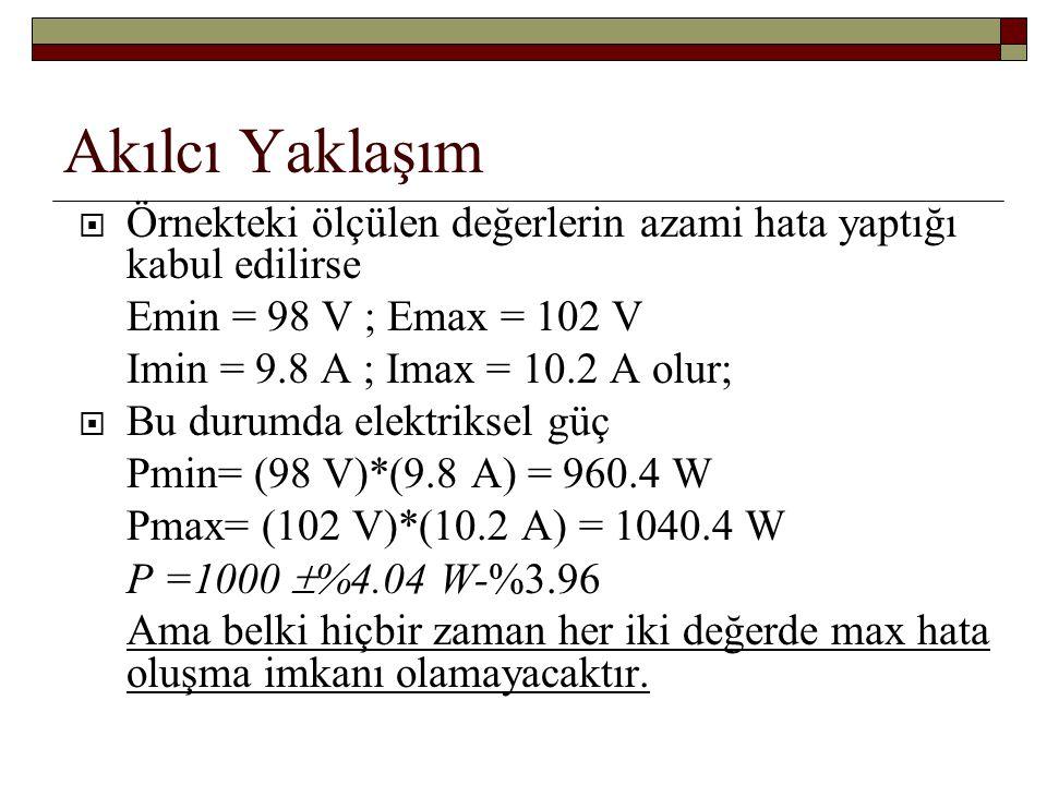 Akılcı Yaklaşım  Örnekteki ölçülen değerlerin azami hata yaptığı kabul edilirse Emin = 98 V ; Emax = 102 V Imin = 9.8 A ; Imax = 10.2 A olur;  Bu du