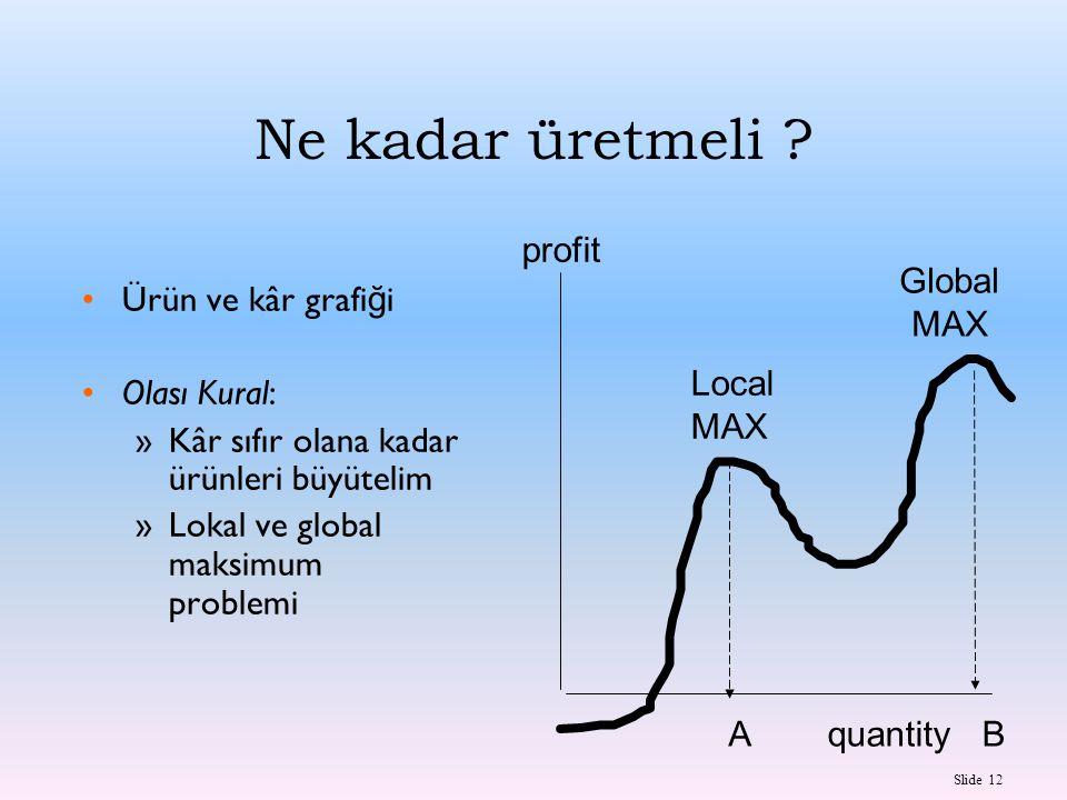 Slide 12 Ne kadar üretmeli ? Ürün ve kâr grafi ğ i Olası Kural: »Kâr sıfır olana kadar ürünleri büyütelim »Lokal ve global maksimum problemi quantity