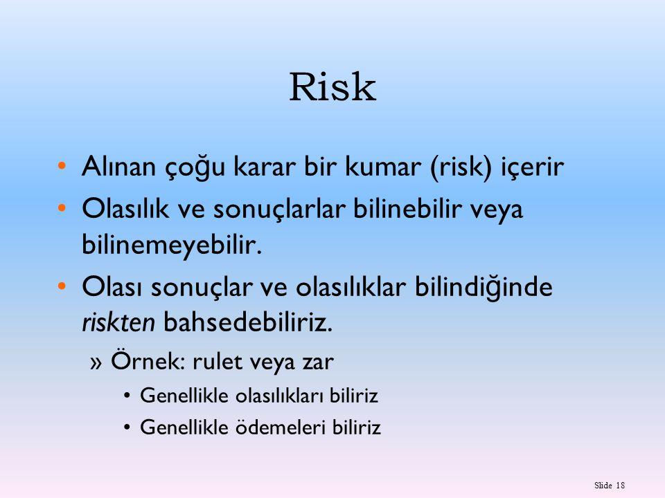 Slide 18 Risk Alınan ço ğ u karar bir kumar (risk) içerir Olasılık ve sonuçlarlar bilinebilir veya bilinemeyebilir. Olası sonuçlar ve olasılıklar bili