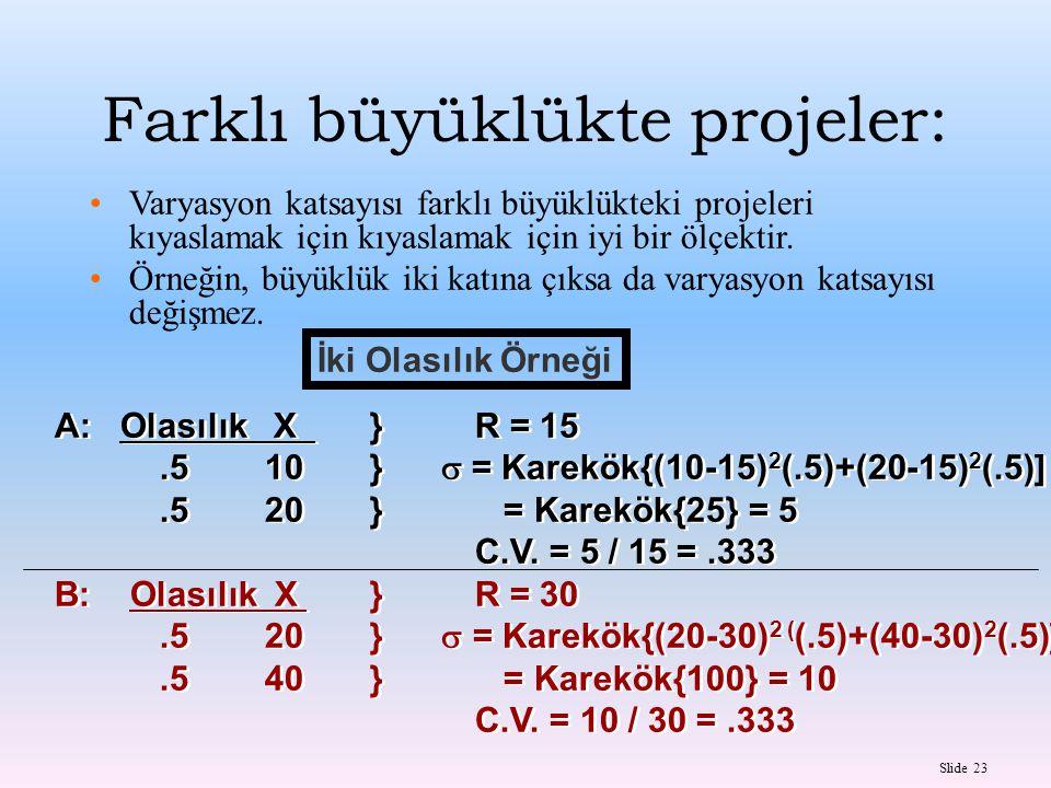 Slide 23 İki Olasılık Örneği A: Olasılık X }R = 15.510}  = Karekök{(10-15) 2 (.5)+(20-15) 2 (.5)].520} = Karekök{25} = 5 C.V. = 5 / 15 =.333 B: Olası