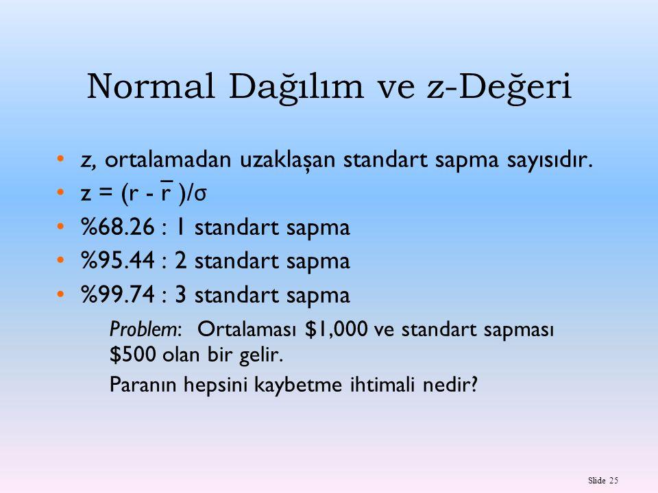 Slide 25 Normal Dağılım ve z-Değeri z, ortalamadan uzaklaşan standart sapma sayısıdır. z = (r - r )/ σ %68.26 : 1 standart sapma %95.44 : 2 standart s