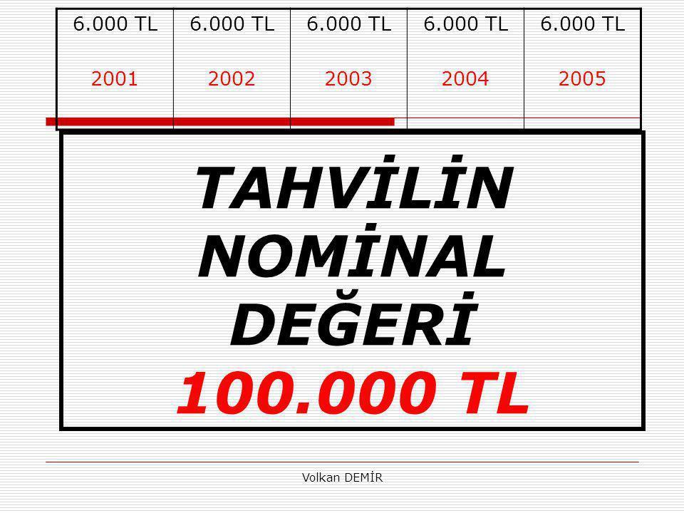 Volkan DEMİR 6.000 TL 2001 6.000 TL 2002 6.000 TL 2003 6.000 TL 2004 6.000 TL 2005 TAHVİLİN NOMİNAL DEĞERİ 100.000 TL
