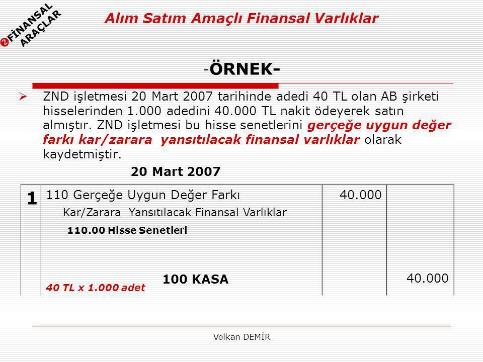 Volkan DEMİR Alım Satım Amaçlı Finansal Varlıklar - ÖRNEK-  ZND işletmesi 20 Mart 2007 tarihinde adedi 40 TL olan AB şirketi hisselerinden 1.000 aded