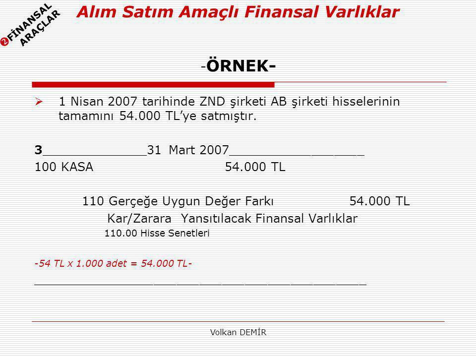 Volkan DEMİR  1 Nisan 2007 tarihinde ZND şirketi AB şirketi hisselerinin tamamını 54.000 TL'ye satmıştır. 3______________31 Mart 2007________________