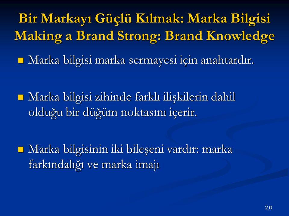 2.6 Bir Markayı Güçlü Kılmak: Marka Bilgisi Making a Brand Strong: Brand Knowledge Marka bilgisi marka sermayesi için anahtardır. Marka bilgisi marka