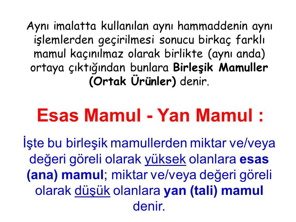 Esas Mamul - Yan Mamul : Aynı imalatta kullanılan aynı hammaddenin aynı işlemlerden geçirilmesi sonucu birkaç farklı mamul kaçınılmaz olarak birlikte