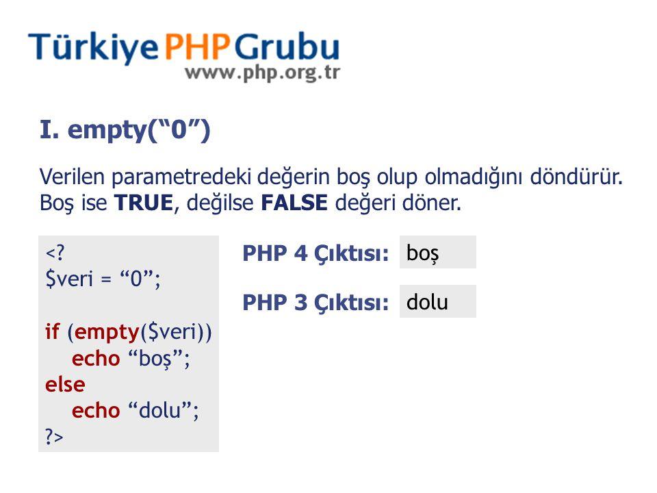 "I. empty(""0"") <? $veri = ""0""; if (empty($veri)) echo ""boş""; else echo ""dolu""; ?> PHP 4 Çıktısı: boş PHP 3 Çıktısı: dolu Verilen parametredeki değerin"