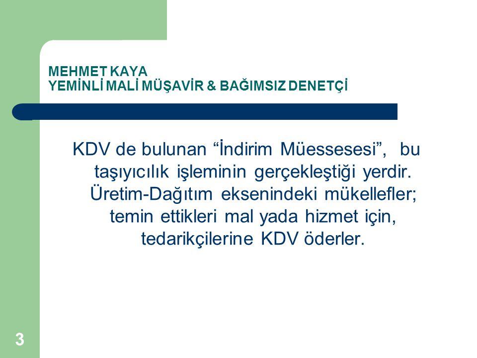 MEHMET KAYA YEMİNLİ MALİ MÜŞAVİR & BAĞIMSIZ DENETÇİ Örneğin; Türkiye'den ihraç malını alarak Türk limanından ayrılan gemi uluslar arası sularda kaza geçirerek ihraç malını kaybetse, bu olay o mal için KDV iadesi yapılmasına engel teşkil etmez.