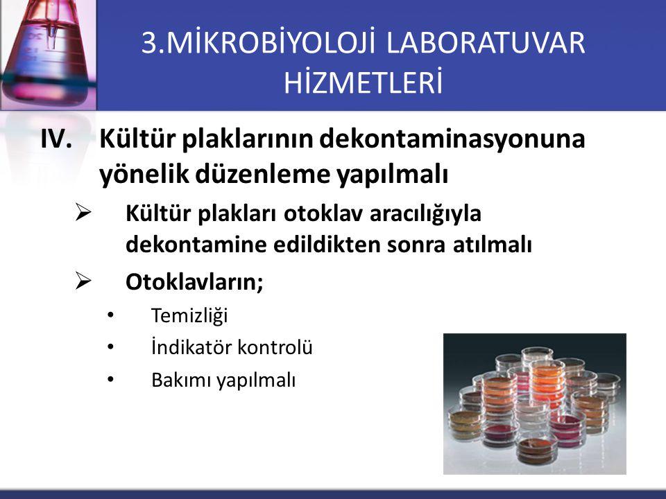 IV.Kültür plaklarının dekontaminasyonuna yönelik düzenleme yapılmalı  Kültür plakları otoklav aracılığıyla dekontamine edildikten sonra atılmalı  Ot