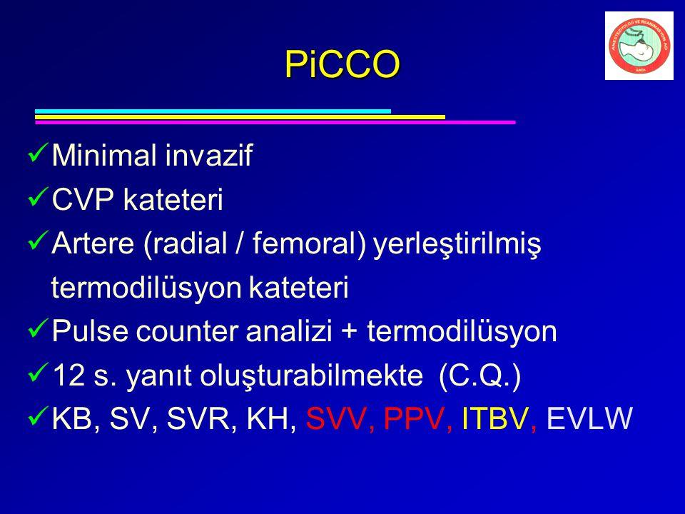 PiCCO Minimal invazif CVP kateteri Artere (radial / femoral) yerleştirilmiş termodilüsyon kateteri Pulse counter analizi + termodilüsyon 12 s. yanıt o