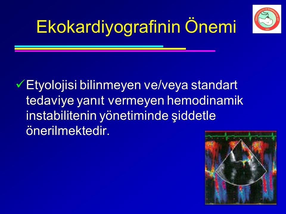 Ekokardiyografinin Önemi Etyolojisi bilinmeyen ve/veya standart tedaviye yanıt vermeyen hemodinamik instabilitenin yönetiminde şiddetle önerilmektedir