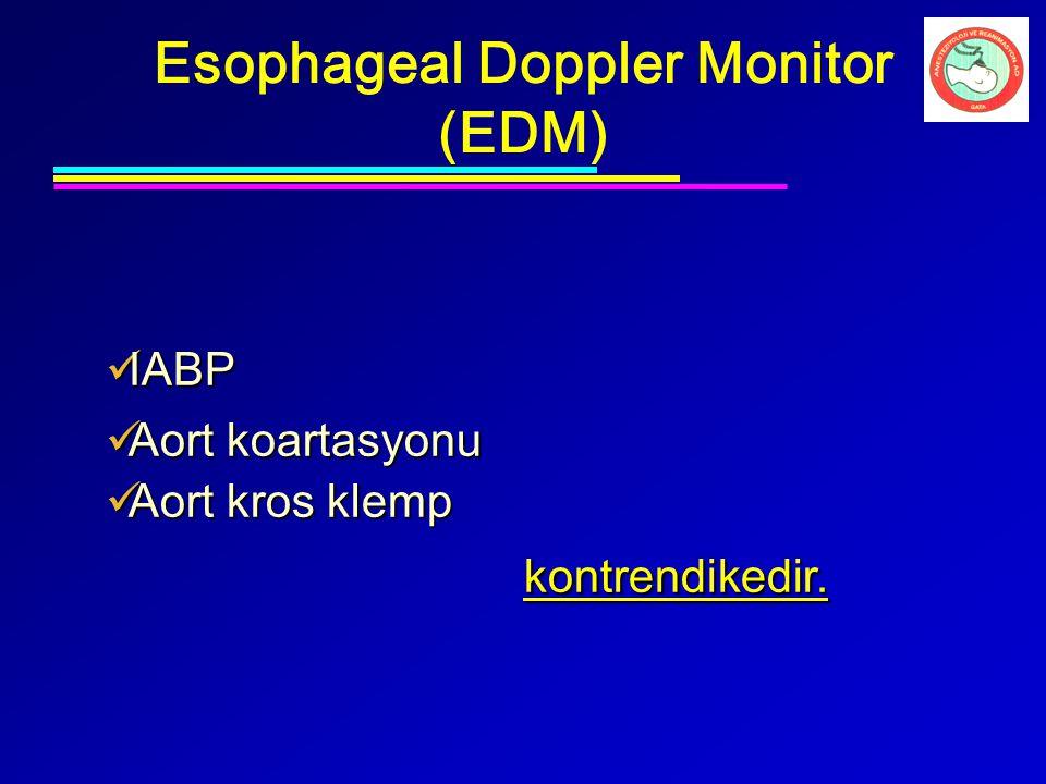 IABP IABP Aort koartasyonu Aort koartasyonu Aort kros klemp Aort kros klemp kontrendikedir. kontrendikedir. Esophageal Doppler Monitor (EDM)