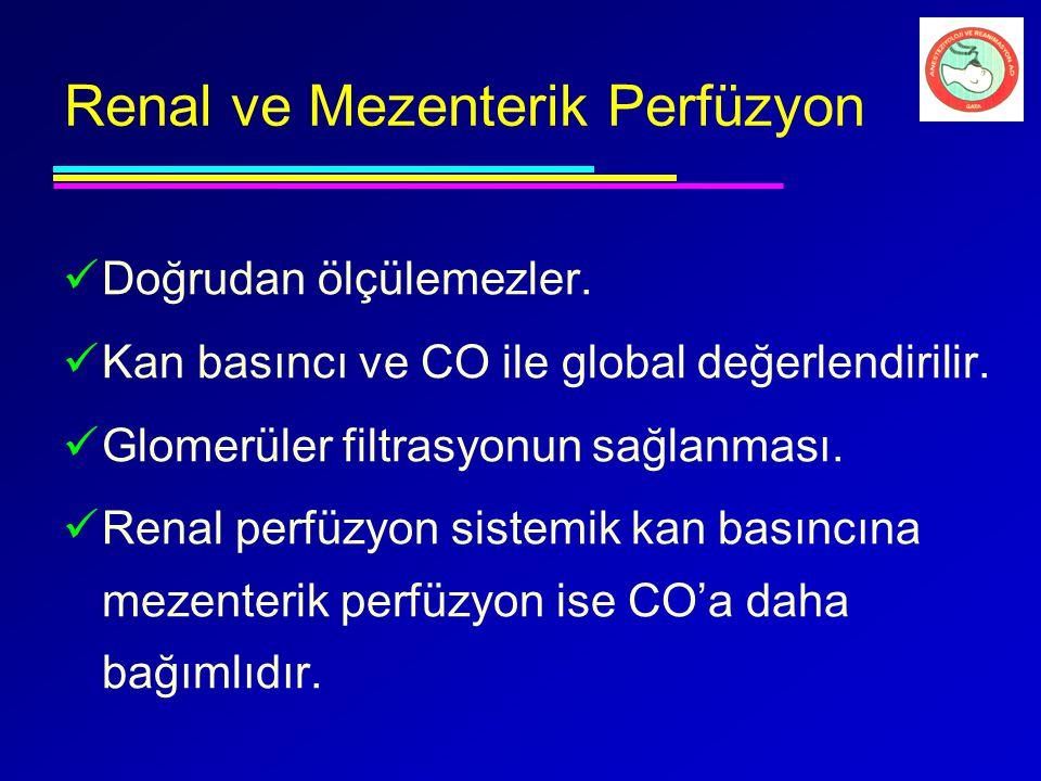 Renal ve Mezenterik Perfüzyon Doğrudan ölçülemezler. Kan basıncı ve CO ile global değerlendirilir. Glomerüler filtrasyonun sağlanması. Renal perfüzyon
