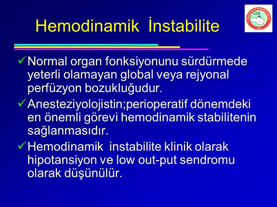 Hemodinamik İnstabilite Normal organ fonksiyonunu sürdürmede yeterli olamayan global veya rejyonal perfüzyon bozukluğudur. Anesteziyolojistin;perioper