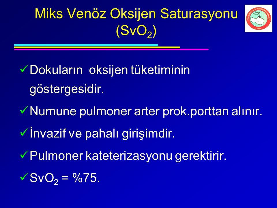 Miks Venöz Oksijen Saturasyonu (SvO 2 ) Dokuların oksijen tüketiminin göstergesidir. Numune pulmoner arter prok.porttan alınır. İnvazif ve pahalı giri
