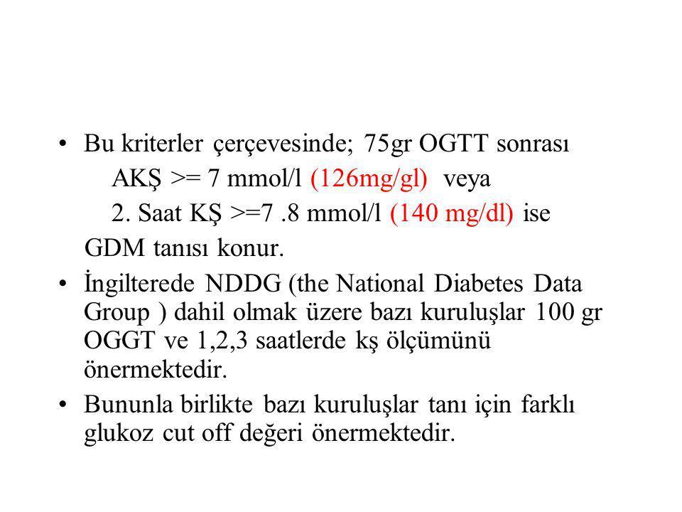 Bu kriterler çerçevesinde; 75gr OGTT sonrası AKŞ >= 7 mmol/l (126mg/gl) veya 2. Saat KŞ >=7.8 mmol/l (140 mg/dl) ise GDM tanısı konur. İngilterede NDD