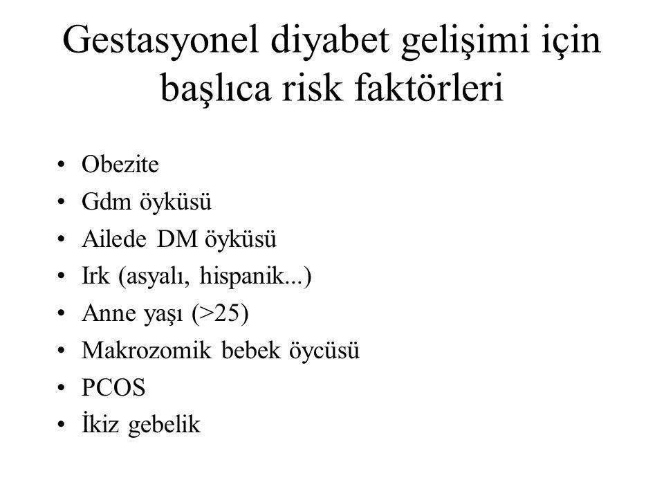 Gestasyonel diyabet gelişimi için başlıca risk faktörleri Obezite Gdm öyküsü Ailede DM öyküsü Irk (asyalı, hispanik...) Anne yaşı (>25) Makrozomik beb