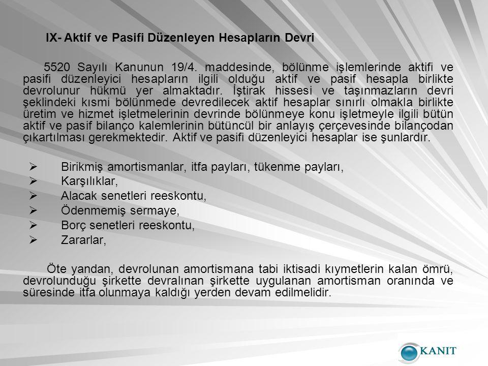 IX- Aktif ve Pasifi Düzenleyen Hesapların Devri 5520 Sayılı Kanunun 19/4.