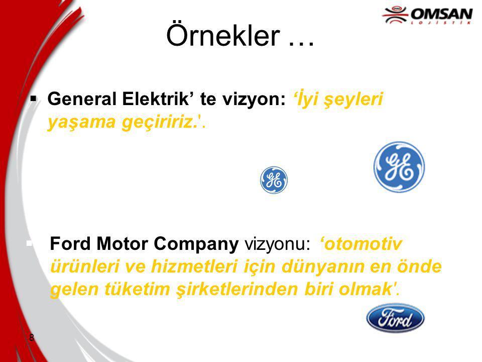 8 Örnekler …  General Elektrik' te vizyon: 'İyi şeyleri yaşama geçiririz. .