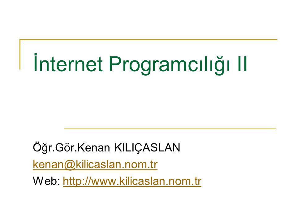 İnternet Programcılığı II Öğr.Gör.Kenan KILIÇASLAN kenan@kilicaslan.nom.tr Web: http://www.kilicaslan.nom.trhttp://www.kilicaslan.nom.tr
