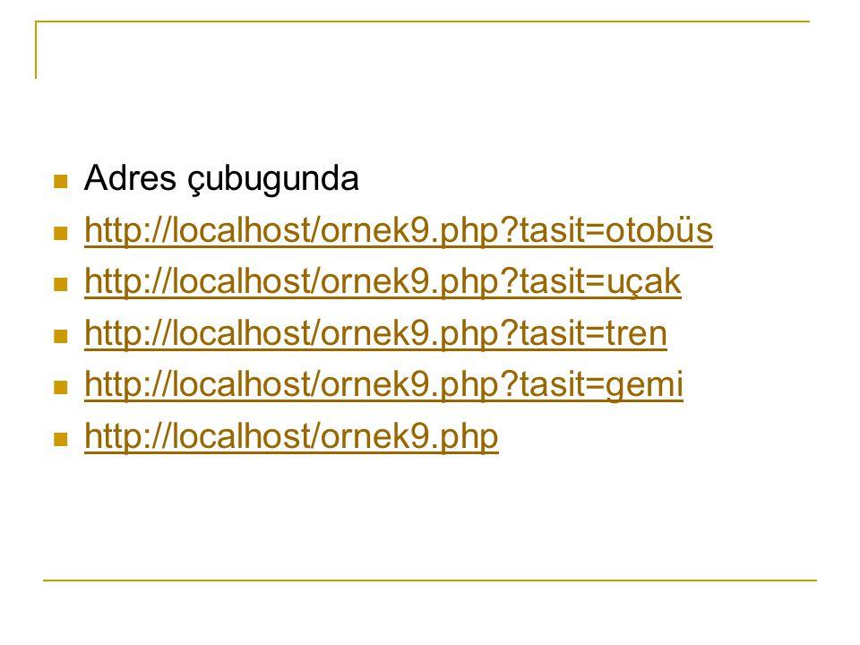 Adres çubugunda http://localhost/ornek9.php?tasit=otobüs http://localhost/ornek9.php?tasit=uçak http://localhost/ornek9.php?tasit=tren http://localhost/ornek9.php?tasit=gemi http://localhost/ornek9.php