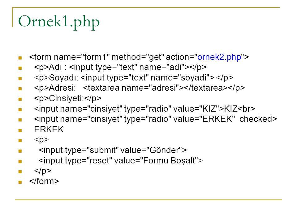while döngüsü (tümü php kodu) <? while (koşul) {  Koşul Doğru ise çalışacak php kodları } ?>