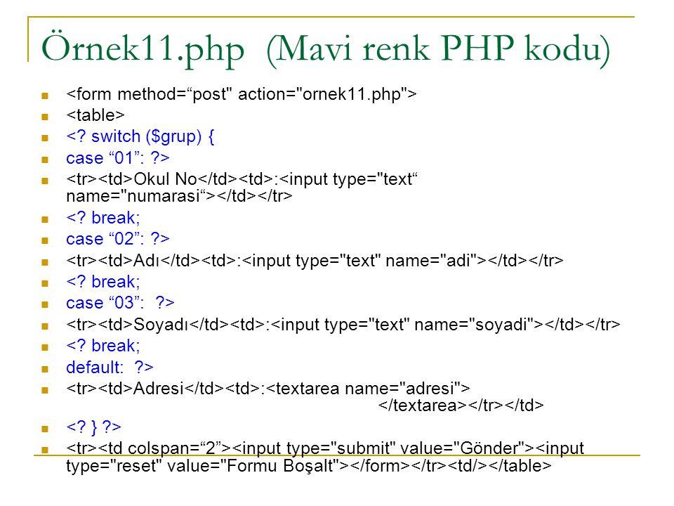 Örnek11.php (Mavi renk PHP kodu) <. switch ($grup) { case 01 : ?> Okul No : <.