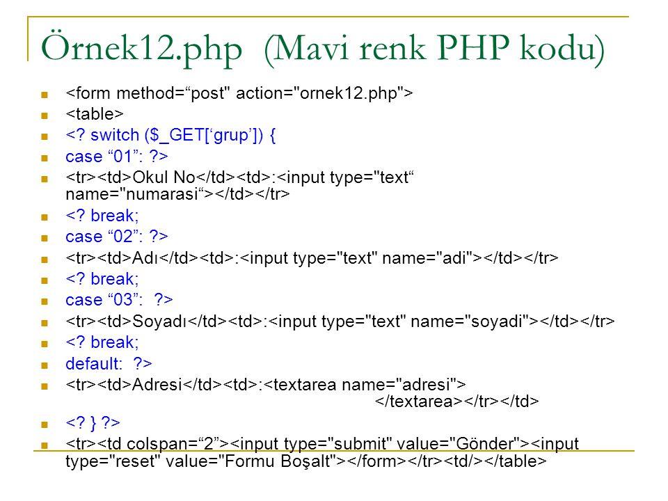 Örnek12.php (Mavi renk PHP kodu) <. switch ($_GET['grup']) { case 01 : ?> Okul No : <.
