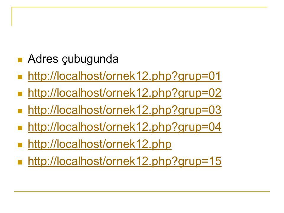 Adres çubugunda http://localhost/ornek12.php?grup=01 http://localhost/ornek12.php?grup=02 http://localhost/ornek12.php?grup=03 http://localhost/ornek12.php?grup=04 http://localhost/ornek12.php http://localhost/ornek12.php?grup=15