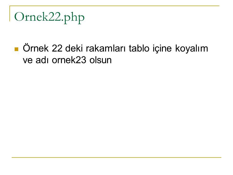 Ornek22.php Örnek 22 deki rakamları tablo içine koyalım ve adı ornek23 olsun