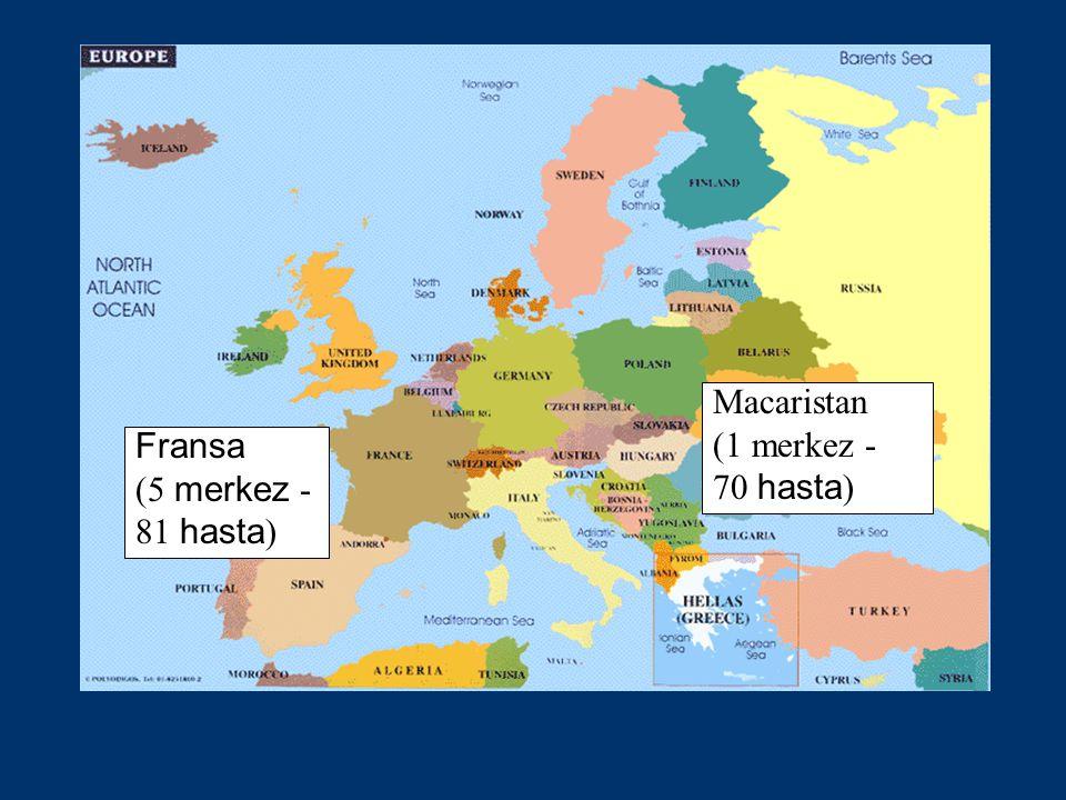Fransa (5 merkez - 81 hasta ) Macaristan (1 merkez - 70 hasta )