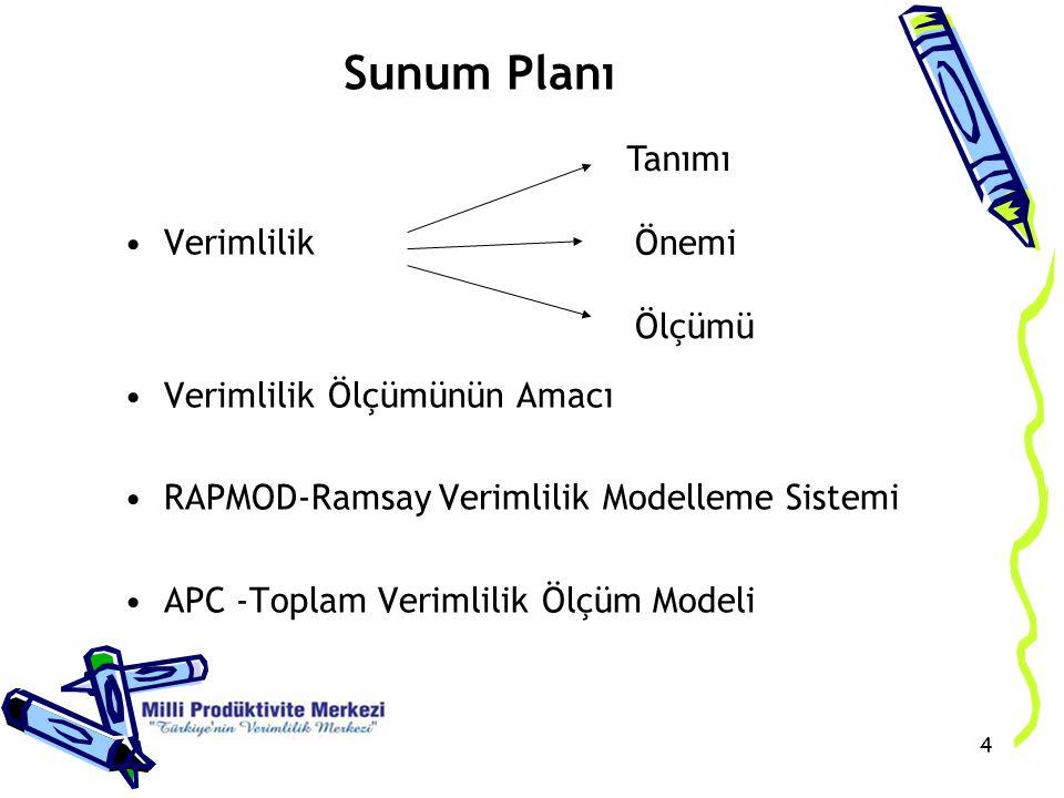 45 Katma Değere dayalı verimlilik ölçüleri Katma Değer / İlk madde ve Malzeme Katma Değer / Ücretler Katma Değer / Dışarıdan Sağlanan Fayda ve Hizmetler Katma Değer / Amortisman Katma Değer / Çeşitli Girdiler Katma Değer / Toplam girdi maliyeti RAPMOD-Ramsay Verimlilik Modelleme Sistemi