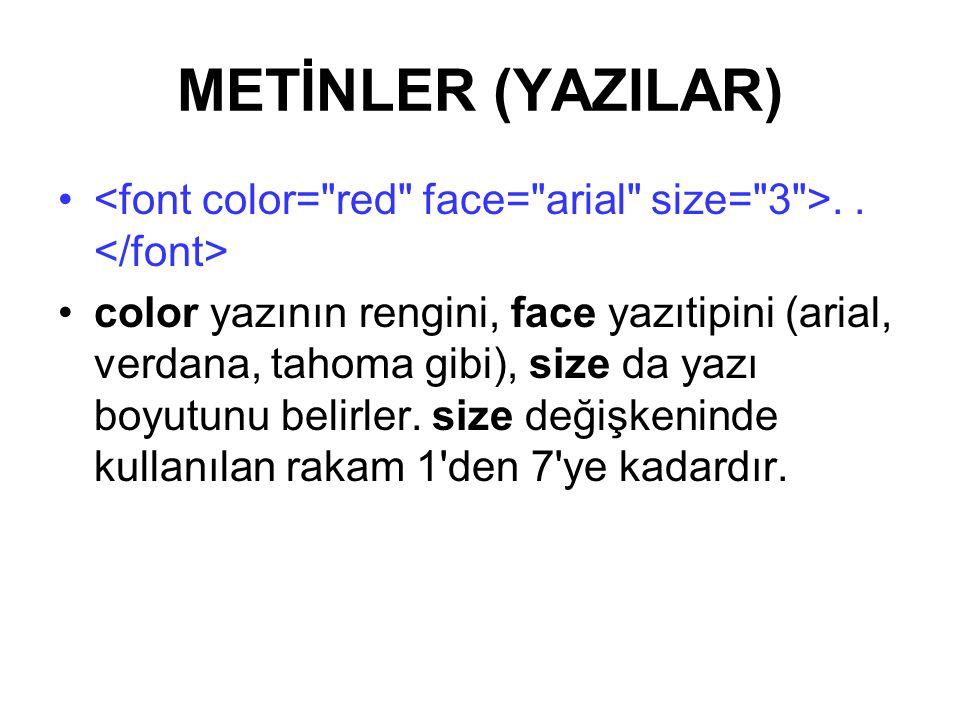 METİNLER (YAZILAR)..