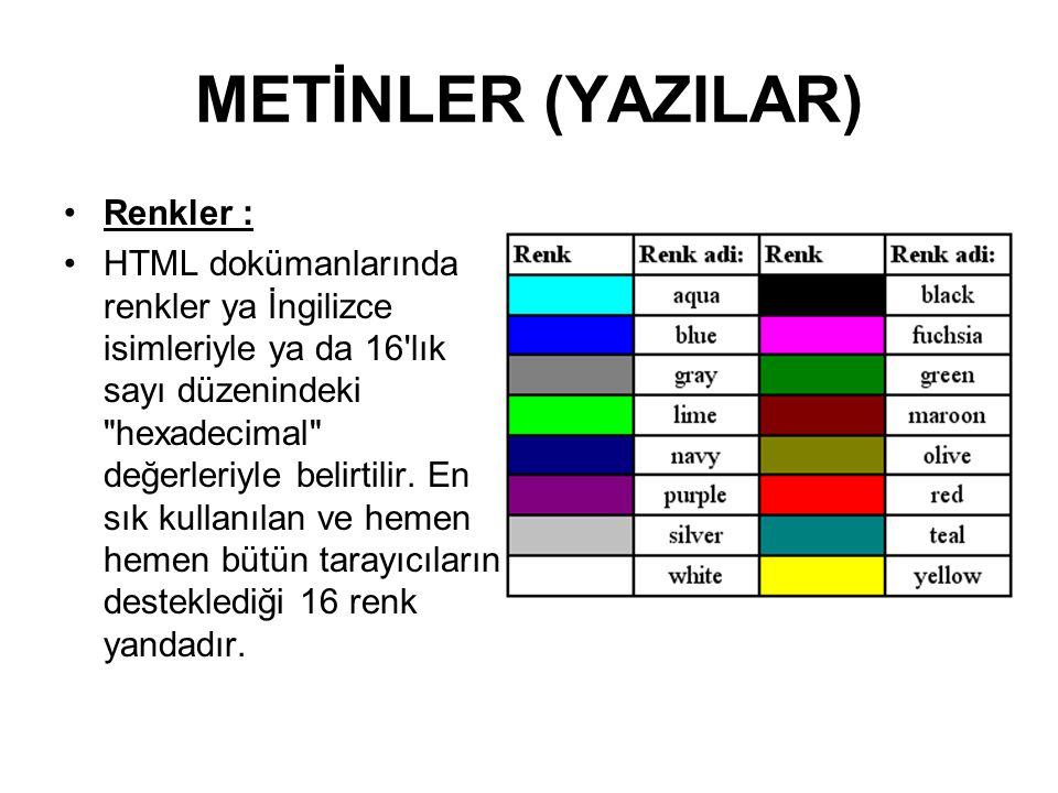 METİNLER (YAZILAR) Renkler : HTML dokümanlarında renkler ya İngilizce isimleriyle ya da 16 lık sayı düzenindeki hexadecimal değerleriyle belirtilir.