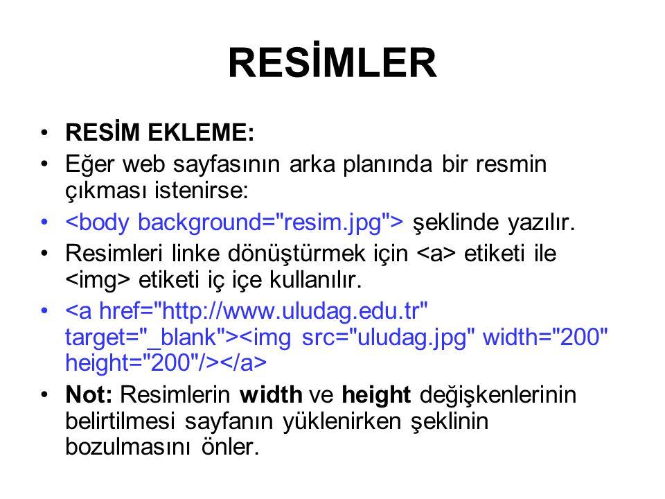 RESİMLER RESİM EKLEME: Eğer web sayfasının arka planında bir resmin çıkması istenirse: şeklinde yazılır.