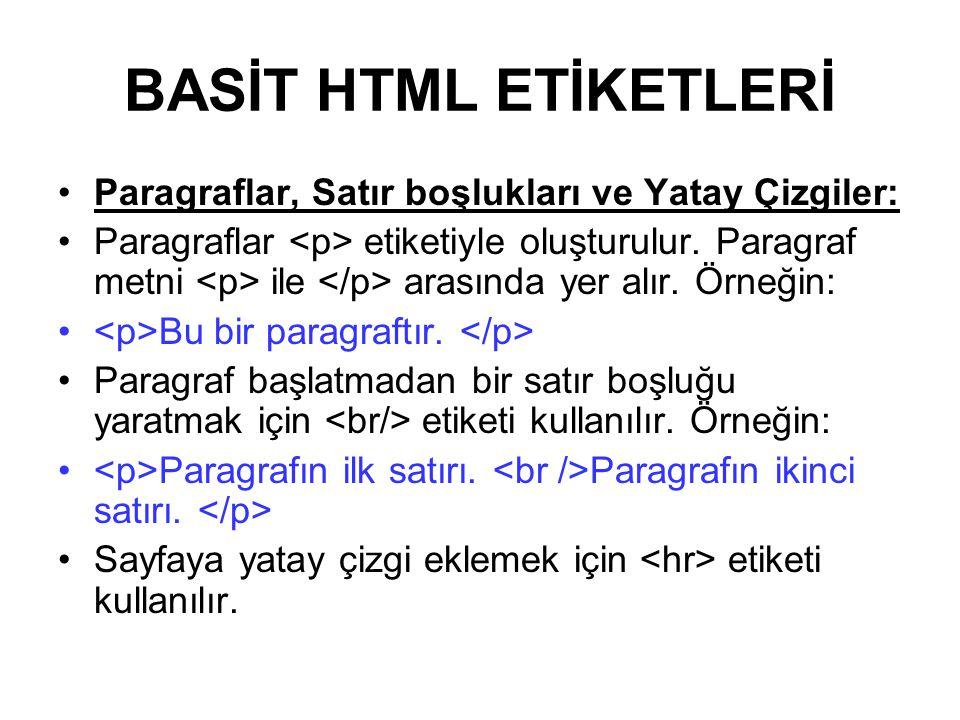 BASİT HTML ETİKETLERİ Paragraflar, Satır boşlukları ve Yatay Çizgiler: Paragraflar etiketiyle oluşturulur.