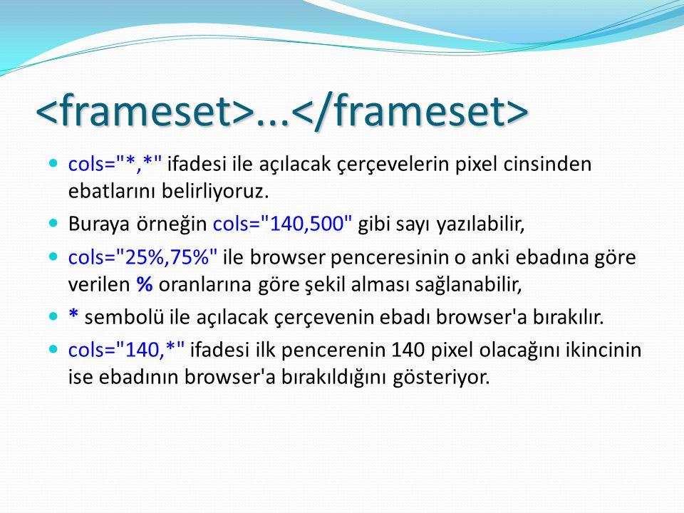 <frameset>...</frameset> cols= *,* ifadesi ile açılacak çerçevelerin pixel cinsinden ebatlarını belirliyoruz.