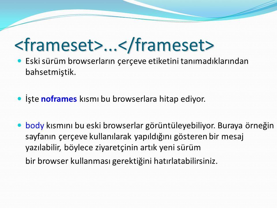 <frameset>...</frameset> Eski sürüm browserların çerçeve etiketini tanımadıklarından bahsetmiştik.