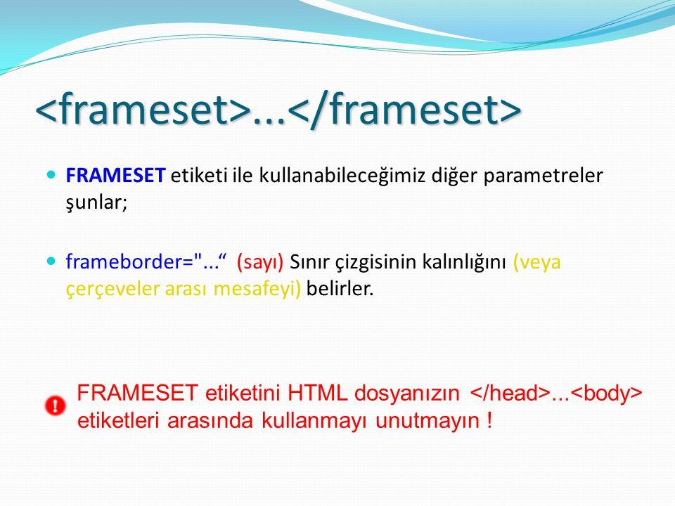 <frameset>...</frameset> FRAMESET etiketi ile kullanabileceğimiz diğer parametreler şunlar; frameborder= ... (sayı) Sınır çizgisinin kalınlığını (veya çerçeveler arası mesafeyi) belirler.