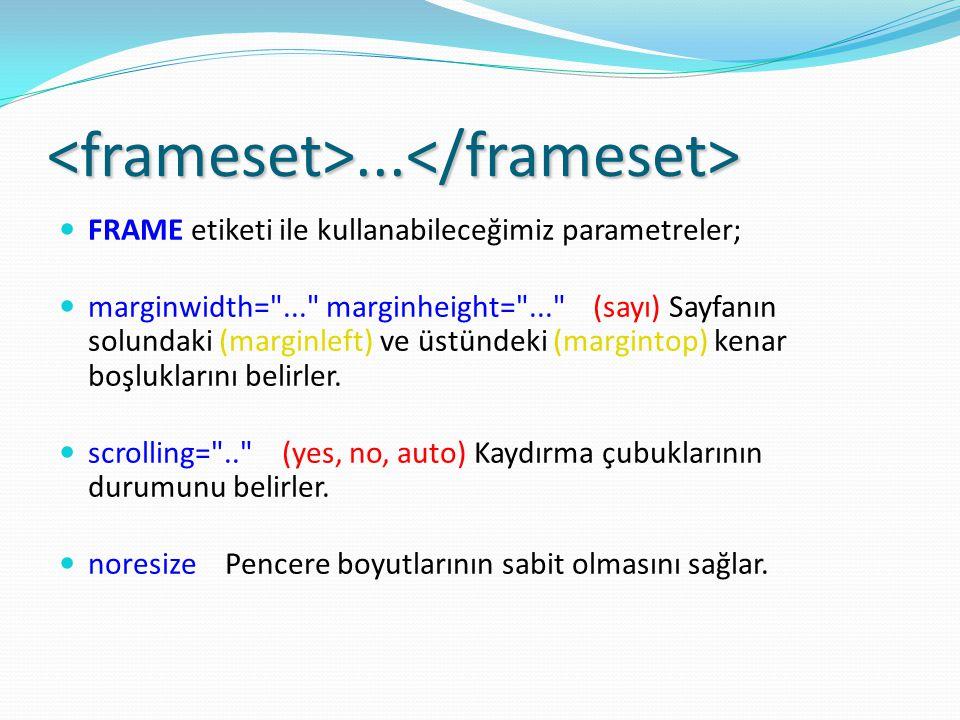 <frameset>...</frameset> FRAME etiketi ile kullanabileceğimiz parametreler; marginwidth= ... marginheight= ... (sayı) Sayfanın solundaki (marginleft) ve üstündeki (margintop) kenar boşluklarını belirler.