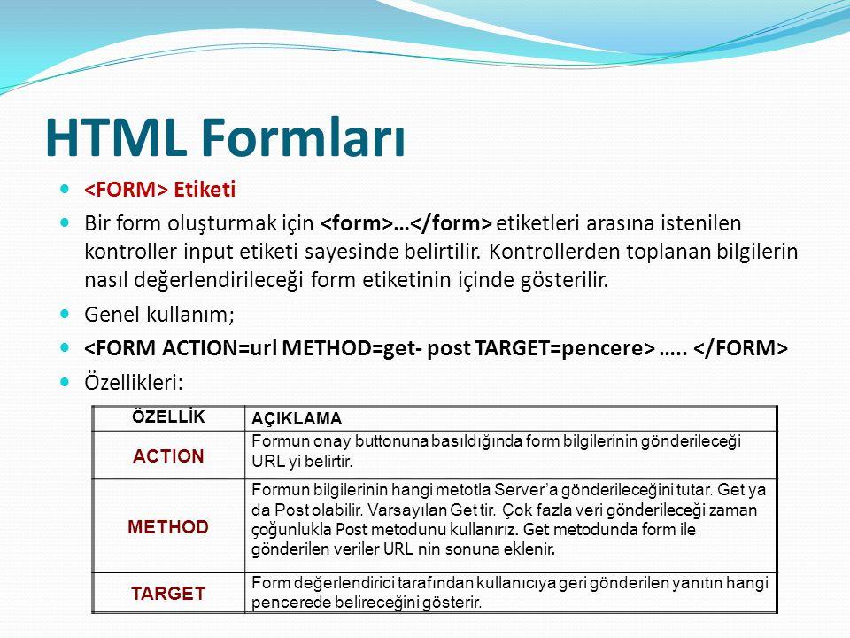 HTML Formları Etiketi Bir form oluşturmak için … etiketleri arasına istenilen kontroller input etiketi sayesinde belirtilir.